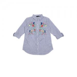 DOROTHY PERKINS Women Blue & White Regular Fit Striped Casual Shirt