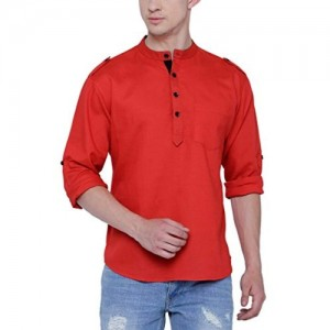 SVANIK Red Mid Thigh Rayon Kurta