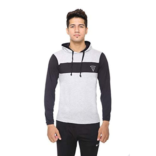 DFH Grey And Black Cotton Solid Full Sleeves Hooded T-Shirt