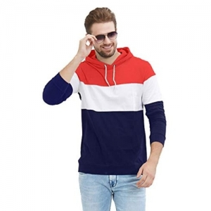 LEWEL Multicolour Cotton Colour Block Full Sleeve Hooded Sweatshirt