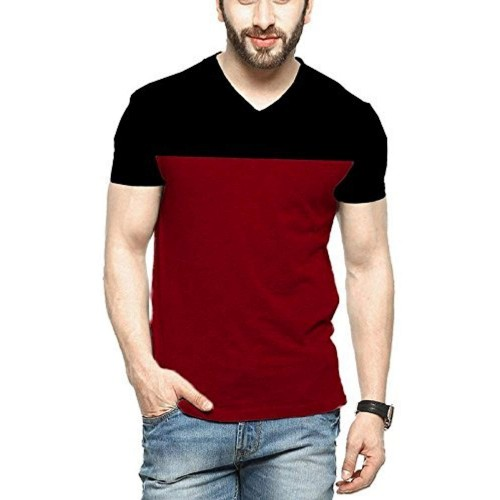 Veirdo Black And Red Cotton Solid Tshirt