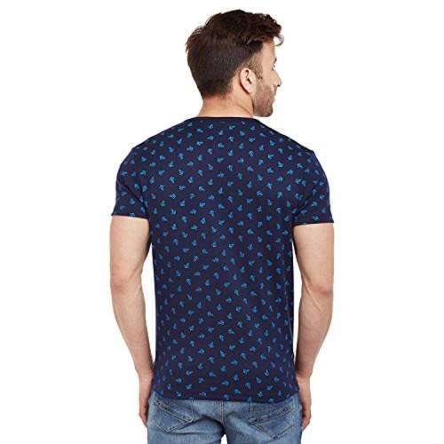VIMAL Navy Blue Cotton Printed Round Neck Tshirt for Men