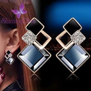 Shining Diva Fashion Copper Italian Designer Collection Drop Earrings for Women (Blue)(rrsd9690er)