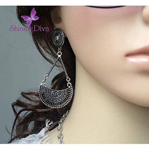 Shining Diva Fashion Jewelry Oxidized Silver Stylish Fancy Party Wear Traditional Earrings For Women & Girls(Antique Silver)(9478er)