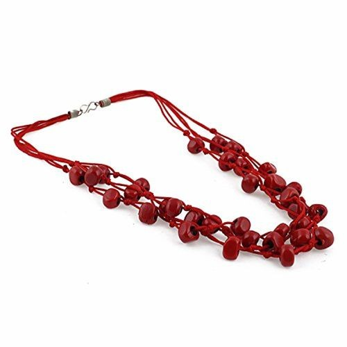 Aradhya Designer Multi Strand Red Beads Necklace for Women and Girls