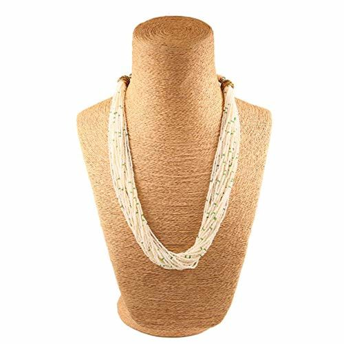 Aradhya Stylish Beige and Green Beads Necklace for Women