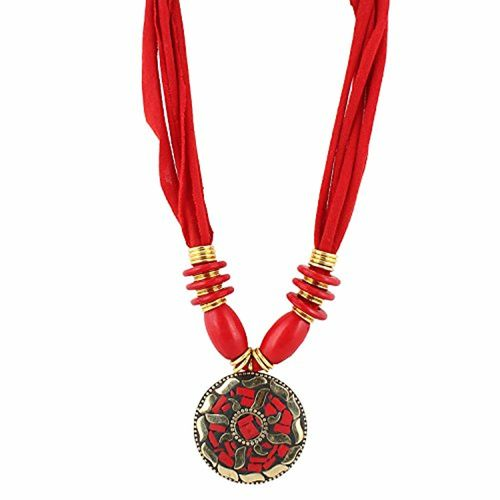 Aradhya Womens Red Color Designer Tibetan Style Necklace