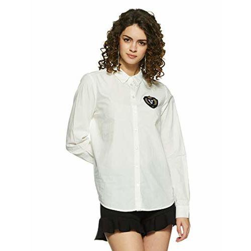 VERO MODA Women's Plain Regular Fit Cotton Shirt