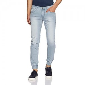 Flying Machine Blue Cotton Solid Jogger fit Jeans