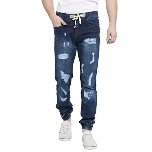 Waltz Dark Blue Cotton Ripped Slim Fit Distressed Joggar Jeans