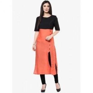 Fashion Storey Black & Orange Cotton Solid Straight Kurti