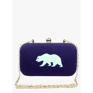 Hepburnette Blue Fabric Box Clutch