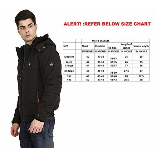 HIVER Men's Nylon Jacket Water Proof Full-Sleeved Winter Jacket with Hood