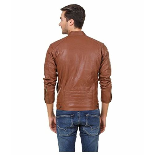 Leather Retail Faux Leather Biker Jacket for Men