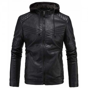 Blaq Ash Men's Faux Leather Biker Outerwear Hooded Jacket