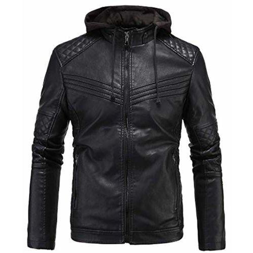 Blaq Ash Men's Faux Leather Biker Outerwear Hooded Jacket