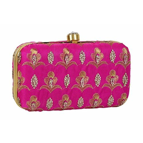 Tooba Handicraft Party Wear Hand Embroidered Box Clutch Bag Purse For Bridal 590d71d843e26
