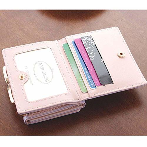 MOCA Pretty Elegant Womens Wallet Small Clutch Wallet Hand purse For Womens Women's Girls Ladies Mini Wallet Clutch Purse 3 Folds Buckle Money Package Card