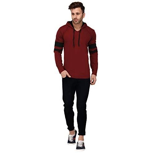 Katso Cotton Multicolour Cotton Colour Block Hooded T-Shirts
