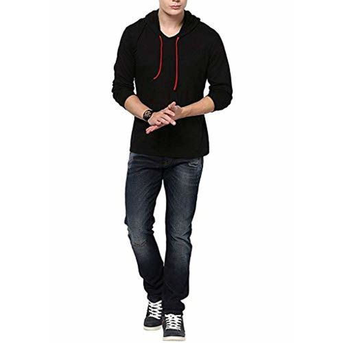 WEFT Black Cotton Hooded Solid T-Shirt