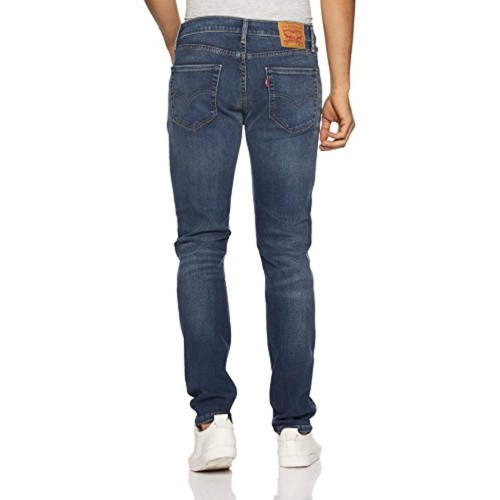 Levi's Blue Cotton Ripped Slim Fit Jeans
