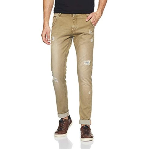 Cherokee Brown Cotton Ripped Slim Fit Jeans