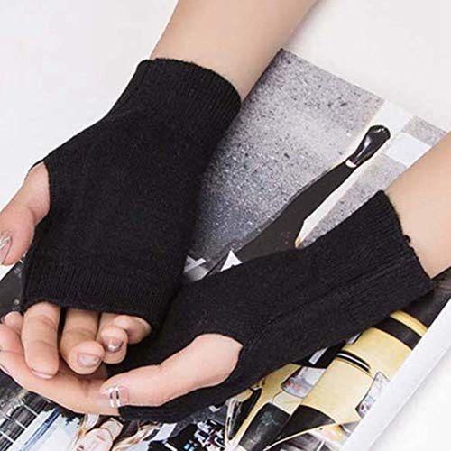 Fancyku Kpop BTS Bangtan Boys Cute Half Finger Gloves Winter Warm Cashmere Stretchy BTS Gloves Fingerless Thumb Hole Warm Gloves
