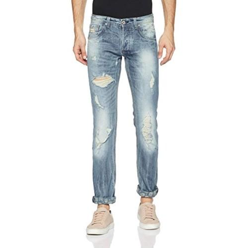 Alcott Blue Cotton Ripped Slim Fit Jeans
