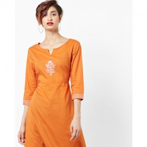 AJIO Floral-Embroidered A-line Kurta with Empire Waist