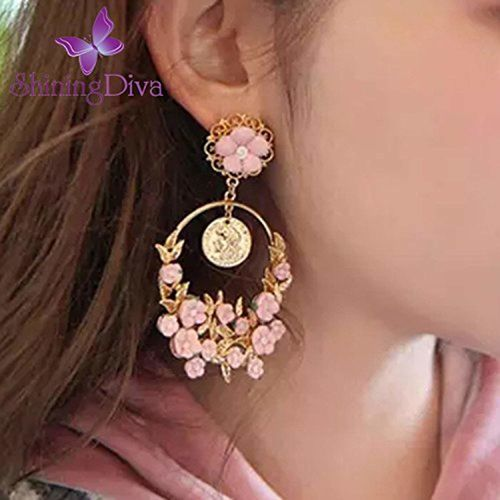 Shining Diva Fashion Floral Gold Plated Earrings For Women & Girls
