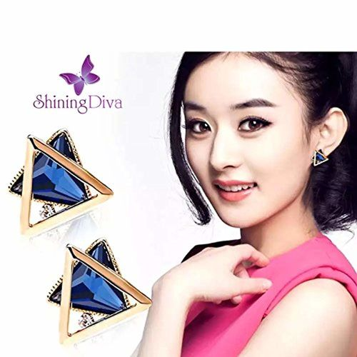 Shining Diva Fashion High Quality 18k Gold Plated Crystal Stylish Fancy Party Wear Earrings For Women & Girls