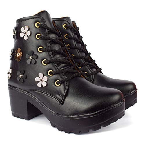 KRAFTER Black Leather High Ankle Boots