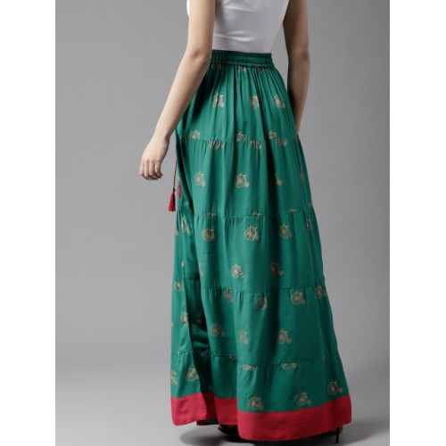 HERE&NOW Teal Green & Golden Viscose Printed Tiered Maxi Skirt