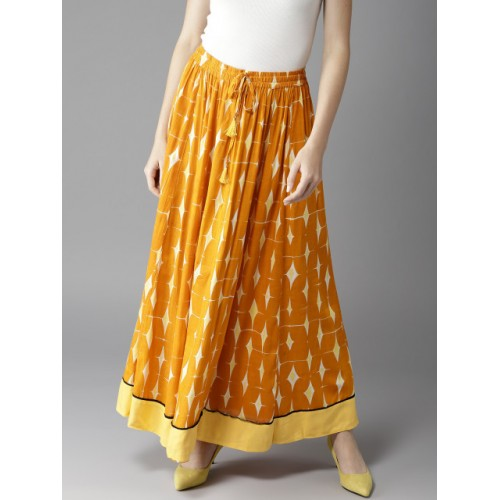 HERE&NOW Mustard Yellow Rayon Printed Maxi Flared Skirt