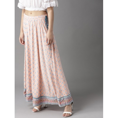 HERE&NOW Peach-Coloured & White Rayon Printed Maxi Flared Skirt