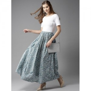 HERE&NOW White & Blue Cotton Printed Maxi Flared Skirt