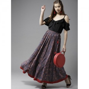 HERE&NOW Navy Blue & Red Rayon Printed Maxi Flared Skirt