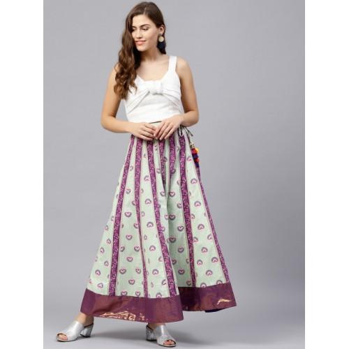Rain & Rainbow Green & Purple Cotton Printed Maxi Flared Skirt