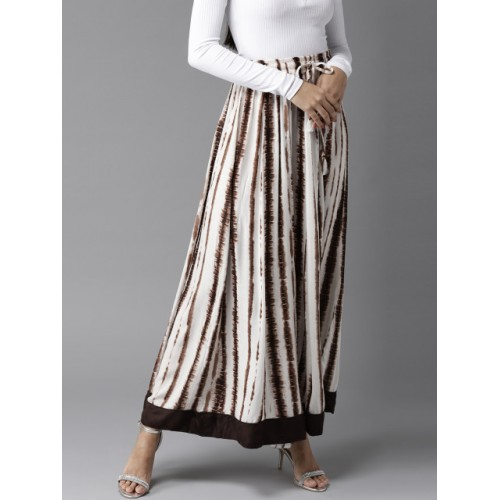 HERE&NOW Off-White & Brown Rayon Dyed Maxi Flared Skirt