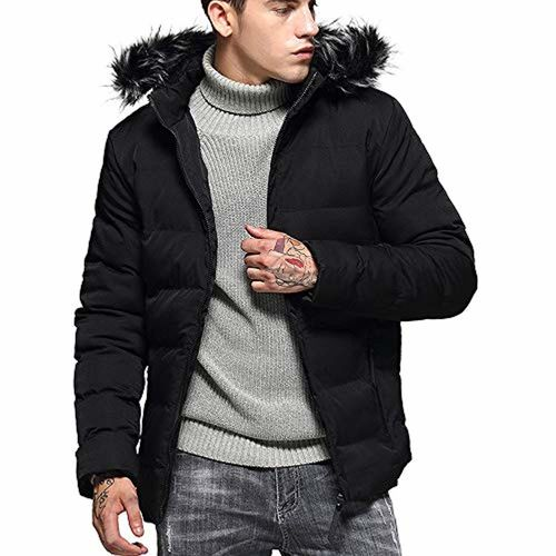 3a0907260 CATSAP Snow Puffer Coats for Men Winter Fur Removable Hooded ...