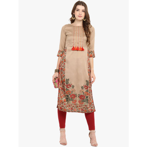 Janasya Brown Silk Floral Printed Tassel Straight Kurta