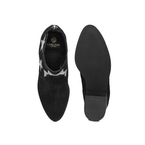 Carlton London Women Black Leather Heeled Boots