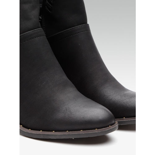 Elle Women Black Solid Heeled Boots