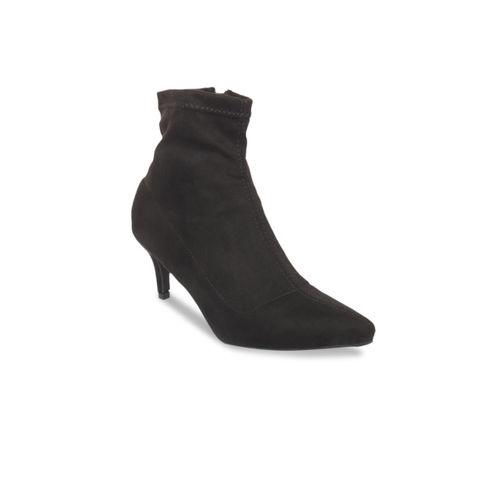 Flat n Heels Women Black Solid Suede Heeled Boots