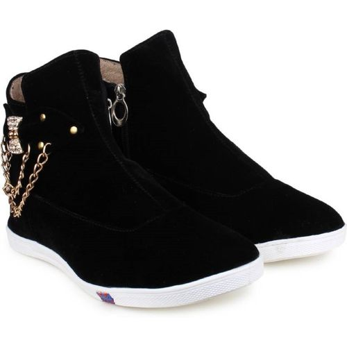 US Trand Black Leather High Ankle Boots