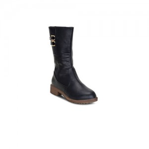 Get Glamr Women Black Solid High-Top Flat Boots