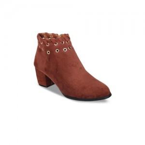 Flat n Heels Women Brown Solid Suede Heeled Boots
