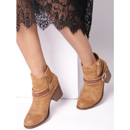 DressBerry Women Tan Brown Solid Heeled Boots