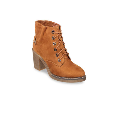 Flat n Heels Women Tan Solid Heeled Boots