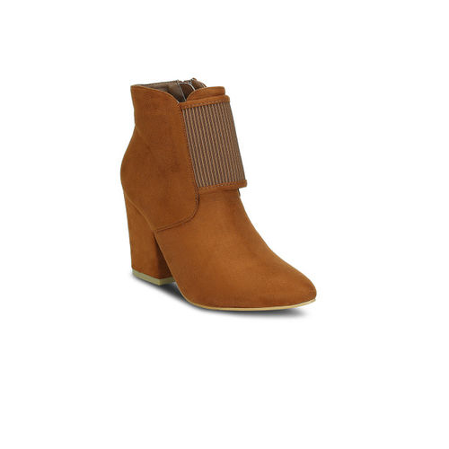Get Glamr Women Tan Brown Solid Heeled Boots